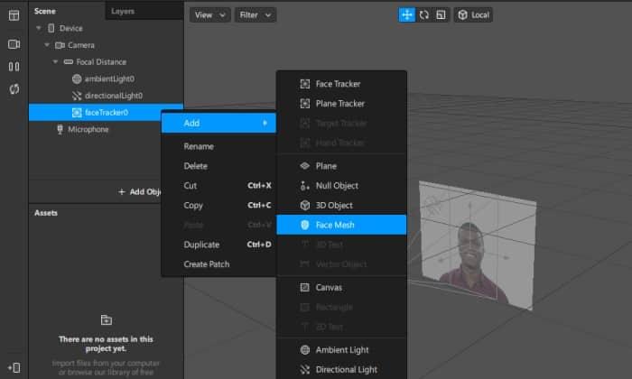 Klik-kanan-pada-proyek-ini-dan-pilih-Add-kemudian-pilih-face-mesh-untuk-mendeteksi-model-wajah-3D