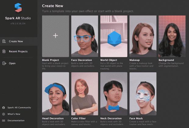 Selanjutnya-buka-Spark-AR-Studio-dan-klik-Create-Project
